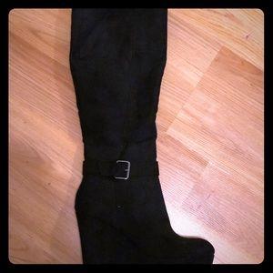 Black thigh high wedge boots